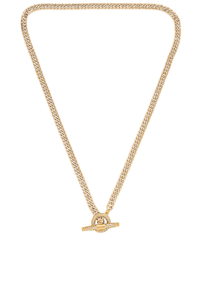 SHASHI Patron Pave Necklace in Metallic Gold.