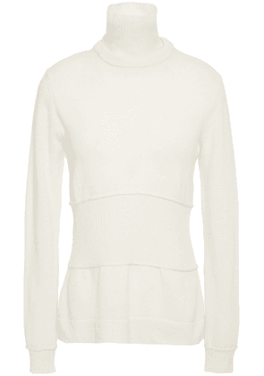 Cedric Charlier Convertible Wool Turtleneck Sweater Woman Ivory Size 38