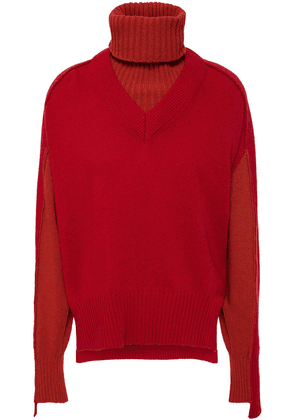 Cedric Charlier Convertible Wool-blend Turtleneck Sweater Woman Red Size 40