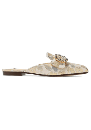 Dolce & Gabbana Crystal-embellished Buckled Brocade Slippers Woman Gold Size 35