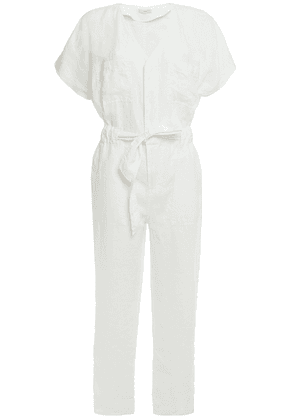 Joie Belted Linen Jumpsuit Woman White Size M