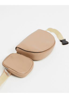 ASOS DESIGN cross body bum bag in tan faux leather with multi compartment