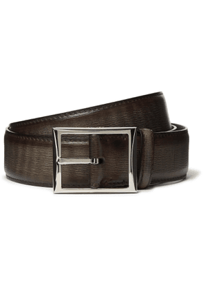 Berluti - 3cm Dark-Brown Textured-Leather Belt - Men - Brown