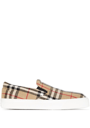 Burberry Vintage Check-print slip-on sneakers - Brown