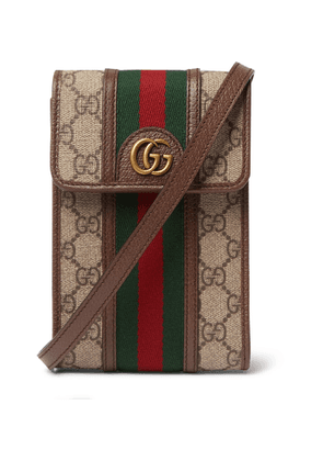 Gucci - Ophidia Grosgrain and Leather-Trimmed Monogrammed Coated-Canvas Messenger Bag - Men - Brown