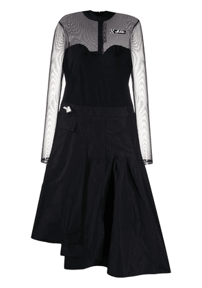Off-White mesh-panelled pleated dress - Black