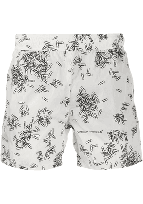 Off-White paperclip-print swim shorts