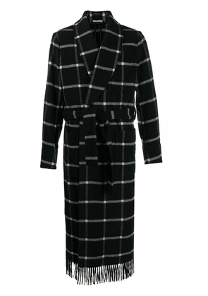 Dolce & Gabbana check coat with fringed edge - Black