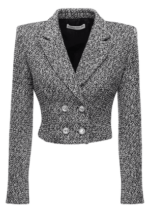 Sequin Tweed Crop Double Breast Jacket