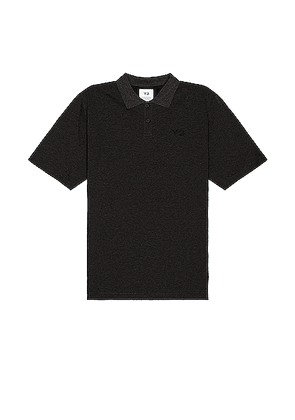 Y-3 Yohji Yamamoto Pique Polo in Charcoal Melange - Black. Size S (also in M).