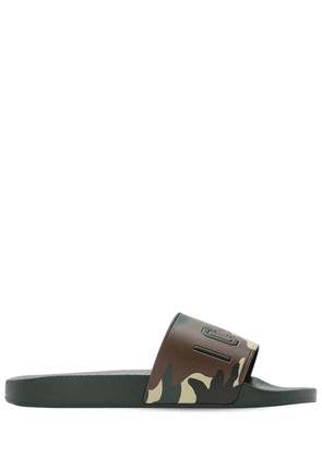 Icon Print Rubber Slide Sandals