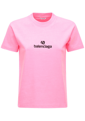 Fitted Cotton Jersey T-shirt W/ Logo