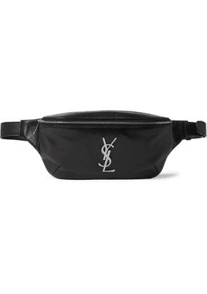 SAINT LAURENT - Logo-Appliquéd Leather Belt Bag - Men - Black