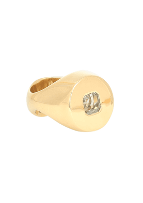 Exhibit gold-vermeil ring with amethyst