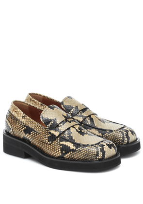 Snake-effect leather loafers