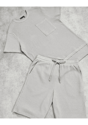 ASOS DESIGN lounge pyjama set in grey waffle