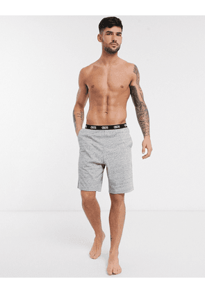 ASOS DESIGN lounge pyjama shorts in grey slub marl with branded waistband