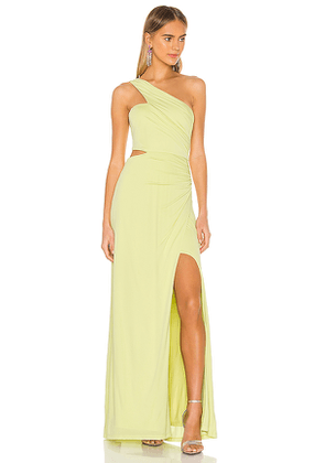 BCBGMAXAZRIA One Shoulder Cut Out Gown in Green. Size L,S,XS.