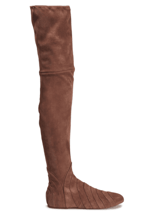 Alaïa Pleated Suede Over-the-knee Boots Woman Brown Size 36