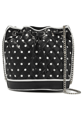 Boutique Moschino Polka-dot Quilted Leather Bucket Bag Woman Black Size --