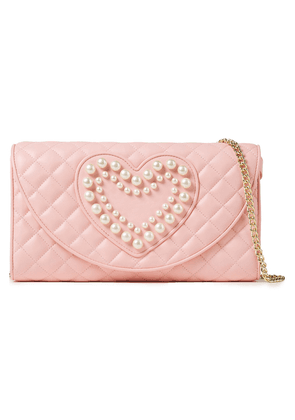 Boutique Moschino Faux Pearl-embellished Quilted Leather Shoulder Bag Woman Baby pink Size --