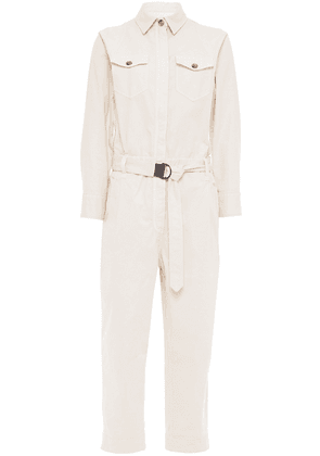 Brunello Cucinelli Bead-embellished Belted Cotton-blend Jumpsuit Woman Cream Size 42