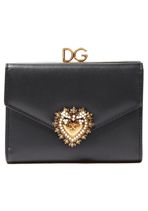 Dolce & Gabbana Devotion Embellished Leather Wallet Woman Black Size --
