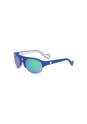 Moncler Blue Mirrored Oval-frame Sunglasses