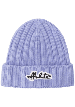 Off-White logo-patch ribbed beanie - PURPLE