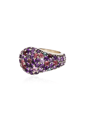 Shola Branson sterling silver and sapphire signet ring - PURPLE