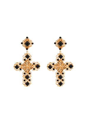 Dolce & Gabbana crystal embellished cross earrings - GOLD