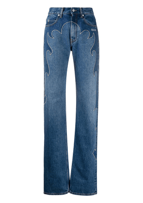 Off-White embroidered straight-leg jeans - Blue