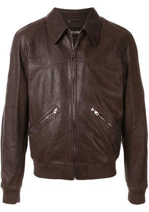 Dolce & Gabbana collared lambskin bomber jacket - Brown