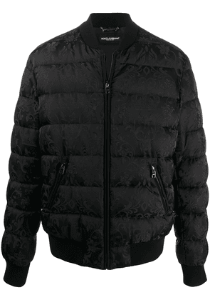 Dolce & Gabbana crown jacquard quilted jacket - Black