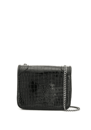 Saint Laurent Niki crocodile-effect wallet on chain - Black