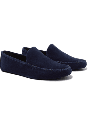 Loro Piana - Maurice Cashmere-Lined Suede Slippers - Men - Blue