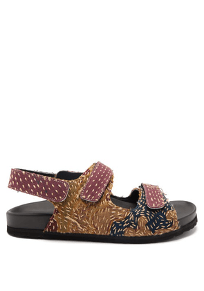 By Walid - Felix 18th-century French Tapestry Linen Sandals - Mens - Dark Purple