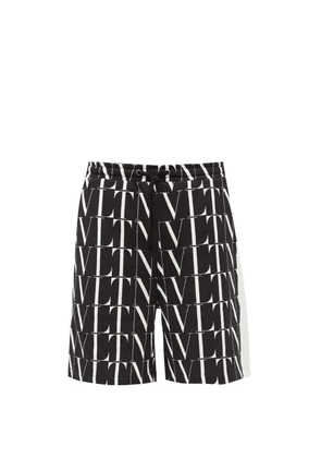 Valentino - Logo-print Cotton-blend Jersey Shorts - Mens - Black White