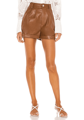 Divine Heritage Cuffed Pleated Vegan Leather Shorts in Cognac. Size S,XS.