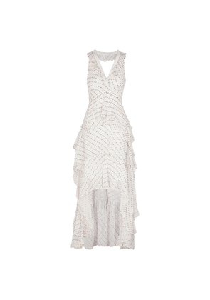 Diane Von Furstenberg Bess White Fil Coupé Tiered Maxi Dress