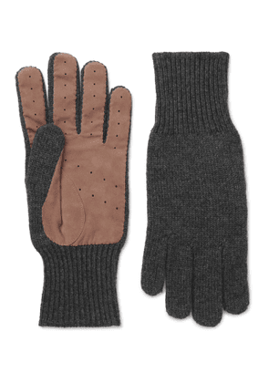 Brunello Cucinelli - Perforated Suede-Panelled Cashmere Gloves - Men - Gray