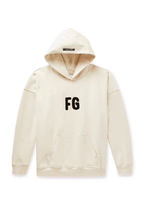 Fear of God - Oversized Logo-Appliquéd Loopback Cotton-Jersey Hoodie - Men - Neutrals
