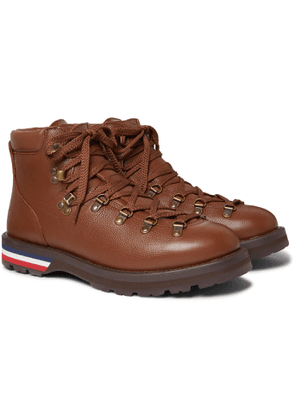 Moncler - Striped Full-Grain Leather Boots - Men - Brown
