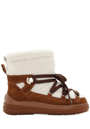 30mm Suede & Faux Shearling Snow Boots