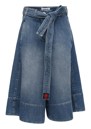 Cotton Denim Wide Leg Shorts