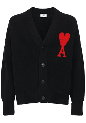 Heart Logo Intarsia Wool Knit Cardigan