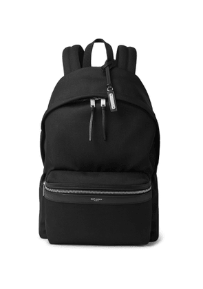 SAINT LAURENT - Leather-Trimmed Canvas Backpack - Men - Black
