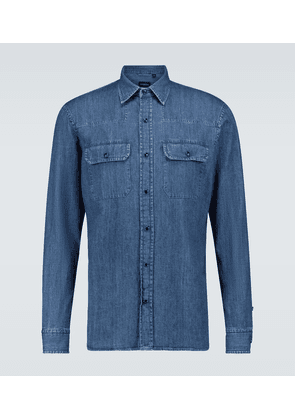 Long-sleeved denim shirt
