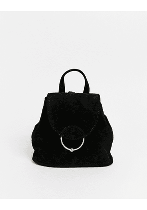 ASOS DESIGN SUEDE mini backpack with ring and ball detail-Black