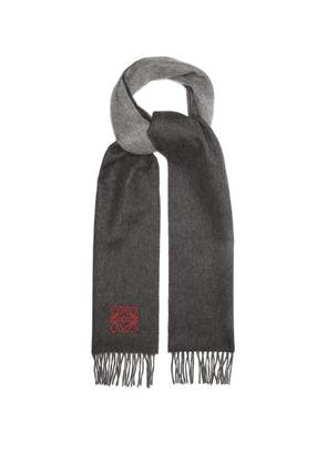 Loewe - Panelled Anagram-embroidered Cashmere Scarf - Mens - Grey